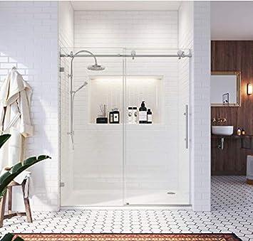 Sunny - Mampara de ducha sin marco, puerta corredera de vidrio de 10 mm, panel de cristal resistente y resistente, reversible deslizante izquierdo o derecho: Amazon.es: Bricolaje y herramientas