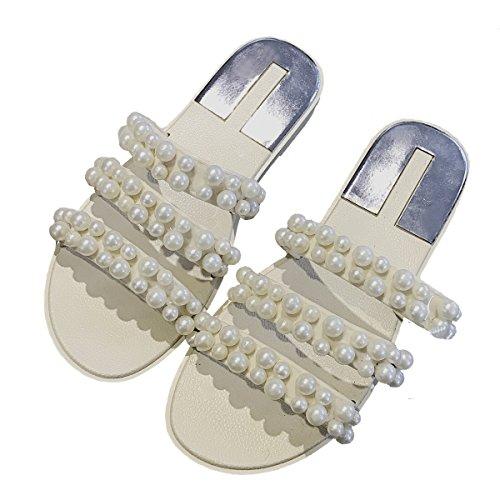 big sale e2691 809df Cher Temps Femmes Pvc Perle Pantoufle Sandales Dété Gelée Plate-forme Chaussures  Blanc ...