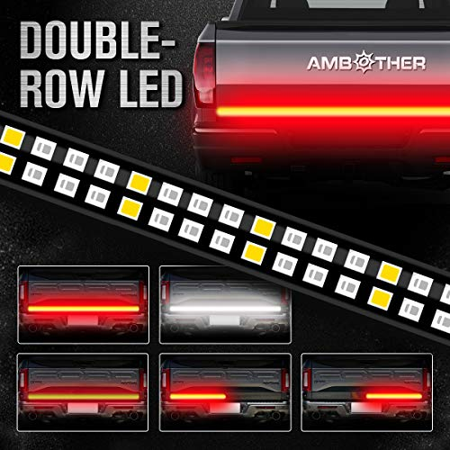 AMBOTHER 60″ Truck Tailgate Light Bar Double Row LED Flexible Strip Running Turn Signal Brake Reverse Tail light for Pickup Trailer SUV RV VAN Car Towing Vehicle,Red/White,No-Drill,1 yr warranty