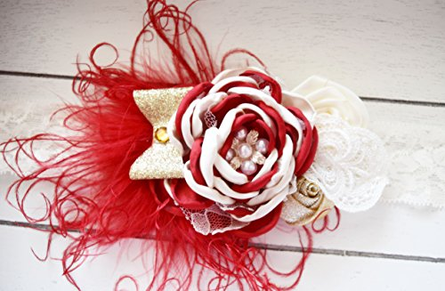 Handcrafted Vintage Inspired Red Gold and Ivory Over the Top Ostrich Feather Christmas Headband