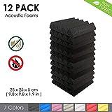 Arrowzoom New 12 Pieces of (25 X 25 X 5 cm) Insulation Wedge Acoustic Wall Foam Padding Studio Foam Tiles AZ1134 (Black)