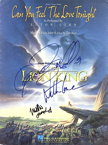 Walt Disney Lion King Signed Autographed Sheet Music Broderick Lane Beckett
