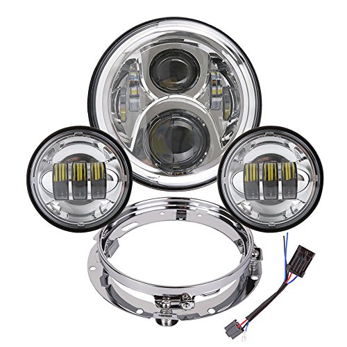 BICYACO 7 Inch LED Headlight with 4.5 Inch Matching Passing Lights for Harley Davidson Classic Electra Street Glide Fat Boy Road King Heritage Softail with Bracket Mounting Ring Motorcycle Headlamps