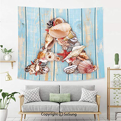 - SoSung Letter A Wall Tapestry,Letter A with Seashells on Pale Wooden Board Invertebrates Animal Decorative,Bedroom Living Room Dorm Wall Hanging,60X40 Inches,Pale Blue Ivory Dark Coral