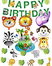 Safari Party Supplies Jungle Theme Birthday Party Decorations - Safari Animal Balloons, Zoo Animals Leaves Happy Birthday Banner, Animal Cake Toppers for Baby Shower, Kids 1st Birthday Decor
