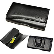 GALAXY S7 active/S6 active/S5 active ~Executive Pouch Leather Wallet Case Holster ID Card Holder[Fits with OTTERBOX Defender Commuter Symmetry/UAG/MOPHIE JUICE PACK protective cover](BK ID)
