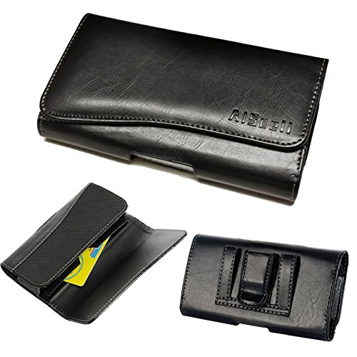 for Galaxy S8 Active/S7 Active/S6 Active~Executive Pouch Black Leather Wallet Case Holster Card Holder[Fits Phone with Hybrid Protective - Slot Hazzard