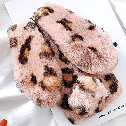 Plush Cover for iPhone X iPhone Xs Case LAPOPNUT Luxury Fluffy Bunny Case Soft Wintter Warm Furry Leopard Shockproof Protective Case with Fuzzy Ears and Tail Bling Diamond Cove,Pink Rabbit ()
