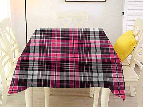 L'sWOW Square Tablecloth Spandex Checkered Symmetrical Lines and Squares Geometric Old Tartan Inspired Design Print Pink Black White Western 36 x 36 -