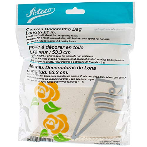 """Ateco 3221 21"""" Canvas Pastry Decorating Bag - Durable Heat Resistant Canvas, Hemmed Tip, French Seamed Sid"""