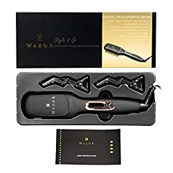 Wazor Straightening Brush 3.0 (Electric Ionic Ceramic Flat Iron Brush)Faster Heating Double Anti-scald Bristles Temperature Lock and Auto Shut off Function Gift Box Edition (Black)