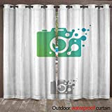 RenteriaDecor Outdoor Curtains for Patio Sheer Vector Pixel Camera icon Modern Symbol for Graphic and Web Design W108 x L84