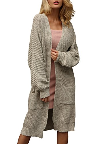 Glamaker Women's Casual Loose Long Sleeve Open Front Cardigan Knit Sweater Outwear Apricot -