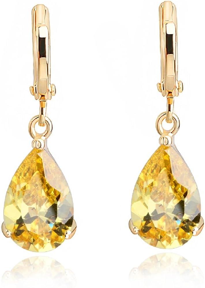 Lágrimas Pendientes con Amarillo citrino simulado Cristales austríacos de Zirconia18k Chapado en oro para mujer