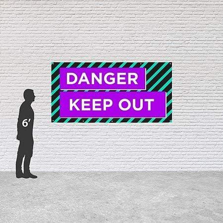 CGSignLab Danger Keep Out 8x4 Modern Block Heavy-Duty Outdoor Vinyl Banner