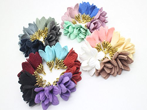Flower Charm Tassel (Fashion 36pcs 9/10'' Inch Suede Flower Tassel Pendant With Gold Caps for Necklace, Earnings, Key Chain GD28ST172T)