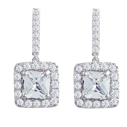 - SELOVO Zircon Bridal Wedding Short Drop Earrings for Women Cushion Cut Stone