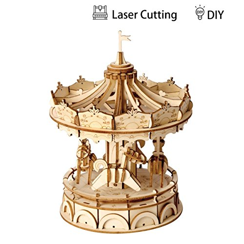 (ROBOTIME 3D Merry-Go-Round Wooden Jigsaws Kit Wooden Puzzles DIY Hand Craft Mechanical Toy Gift for Kids Teens Adults )