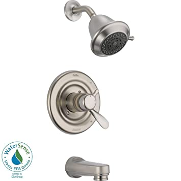 delta dual control tempvolume tub u0026 shower with valve in stainless steel d362v