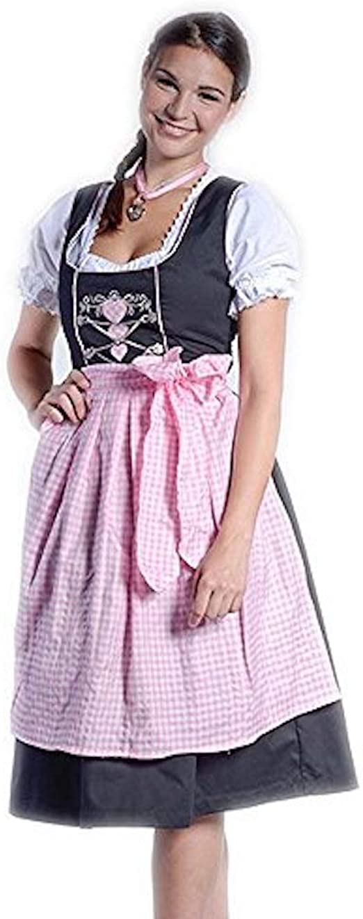 MINI-Dirndl FRIDA EDELWEISS Bluse Schürze Schwarz//Rosa 32-46 Trachtenkleid neu