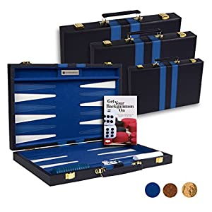 Get The Games Out™ Top Backgammon Set - Classic Board Game Case - Best Strategy & Tip Guide - Available in Small, Medium and Large Sizes By (Blue, Large)