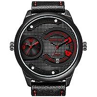 Menton Ezil - Reloj de pulsera para hombre, analógico, deportivo, con cara grande, color negro, resistente al agua, con fecha automática, de cuarzo militar