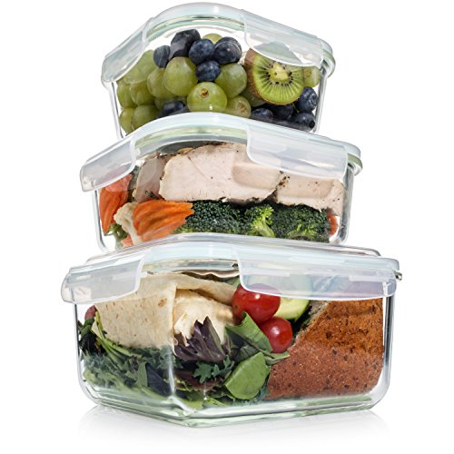 extra large glass food storage containers with airtight lid 6 pc 3 containers w ebay. Black Bedroom Furniture Sets. Home Design Ideas