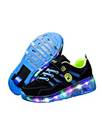 Ufatansy Kids Fashion Sneakers Single Wheel Roller Skate Shoes Comfortable Mesh Surface LED Light up Shoes