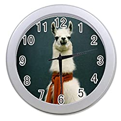 Dong Cun Bai Hipster Llama Lama Personalized custom alarm clock for children bedroom Custom Wall Clock black Unique Custom Wall Clock