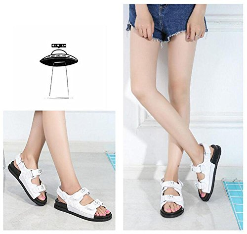 Shoes Students Flat Bottom New Flat 2017 Open Toe White Summer Women Metal Thick Shoes Sandals Velcro Leather wZq6xHSO