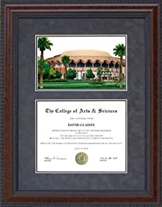 Diploma Frame with Arizona State University (ASU) Campus Lithograph - 5 x 7 horizontal (landscape) diploma