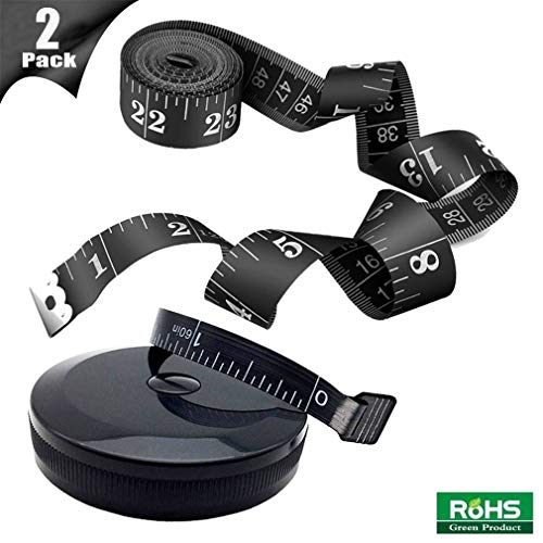2 Pack Tape Measure Measuring Tape for Body Sewing Tailor Cloth Fabric Craft Weight Loss Measurements, 120-Inch Soft Fashion Black & Retractable Black Tape Measure Body Measuring Tape Set
