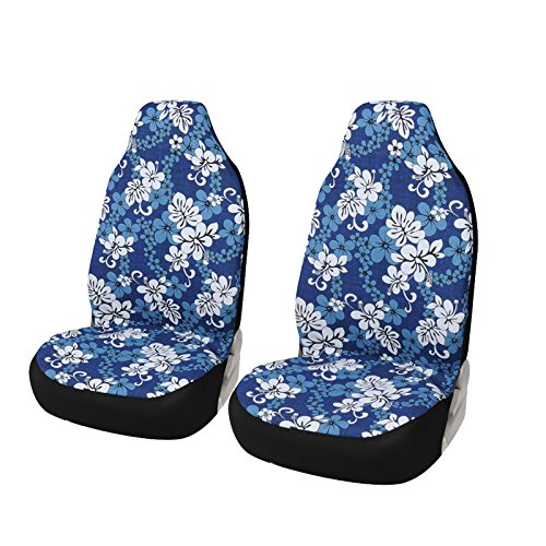 AUTOYOUTH Bucket Seat Covers Blue Hawaiian Print Comfortable Cotton Fabric Universal Front Seat Covers Fit for Most Cars, Pack of 2