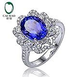 7x9mm Oval Cut Tanzanite Gemstone Ring Jewelry With Diamond In 18K White Gold