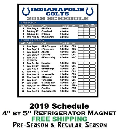 image regarding Colts Schedule Printable named : Indianapolis Colts NFL Soccer 2019 Finish Time