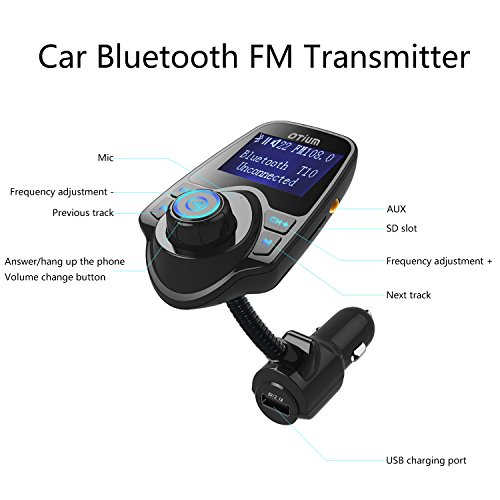 fm transmitter otium bluetooth wireless radio adapter. Black Bedroom Furniture Sets. Home Design Ideas