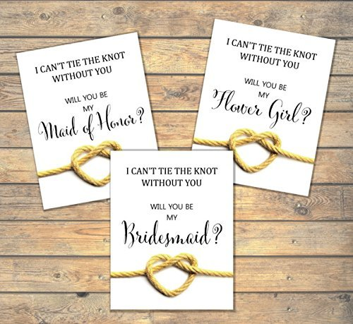 Will You Be My Bridesmaid, Flower Girl, Maid of Honor, Any Title Combination, I Can't Tie The Knot Without You, Heart Shaped Rope Knot, Bridal Party Proposal Note Cards, Wedding Party Card Set
