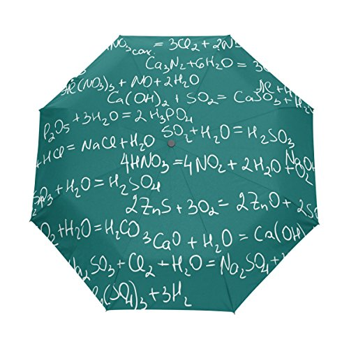 Naanle Chemistry Pattern Tile Auto Open Close Foldable Windproof Travel Umbrella - Chemistry Tile