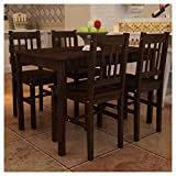 K&A Company Wooden Dining Table with 4 Chairs Brown
