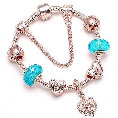 Bracelet Monet Pattern (Leving Crystal Beads Charms Bracelet for Women with Safety Chain Fine Bracelet for Couple Gift,BA004,21cm)