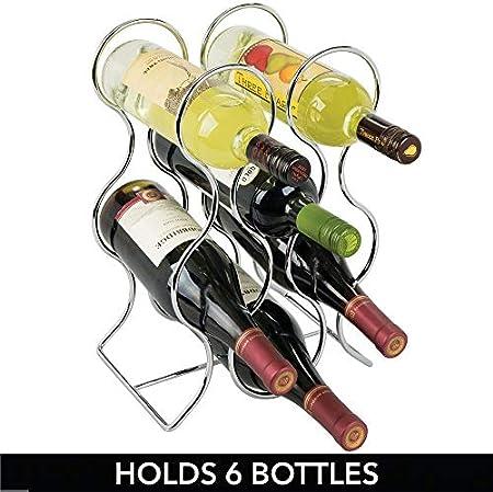 mDesign Juego de 2 botelleros para Vino para 6 Botellas – Botellero metálico de pie – Moderno Estante para Botellas para Cualquier Cocina – Soporte para Botellas de Distintos tamaños – Plateado