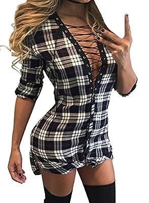 Pxmoda Women's Roll Sleeve Plaid Lace Up Shirt Dress