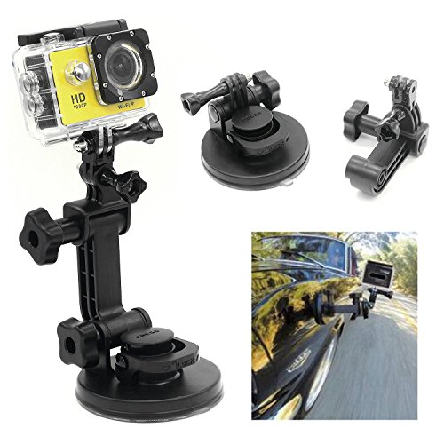 CAMZON 9CM Strong Suction Cup Car Mount with Tripod Adapter for GoPro Hero 5 4 3 2 1 Black Silver Session SJcam sj7000 sj6000 sj5000 Xiaomi Yi action cameras