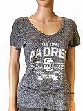 San Diego Padres SAAG Women Gray Loose Soft Baseball V-Neck T-Shirt