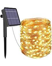 Kolpop solarny łańcuch świetlny na zewnątrz, 24 m, łańcuch świetlny LED, na zewnątrz, 240 diod LED, na zewnątrz, wodoszczelny, drut miedziany, łańcuch świetlny