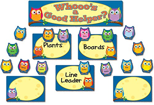 Colorful Owls Job Assignment Bulletin Board Set