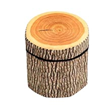 BIBITIME 3D Creative Tree Stump Storage Ottomans Clothing Box Chests Folding Stool with Lid, 11.81x11.41""