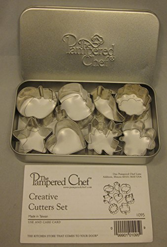 The Pampered Chef Creative Cookie Candy Cutters 1095 Set of 8 Apple Pumpkin Heart Star ()