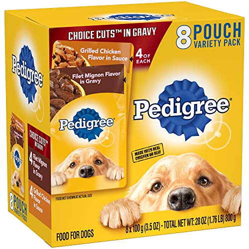DISCONTINUED: PEDIGREE CHOICE CUTS in Gravy Grilled Chicken Flavor in Sauce & Filet Mignon Flavor in Gravy Adult Wet Dog Food Variety Pack, (8) 3.5 oz. Pouches