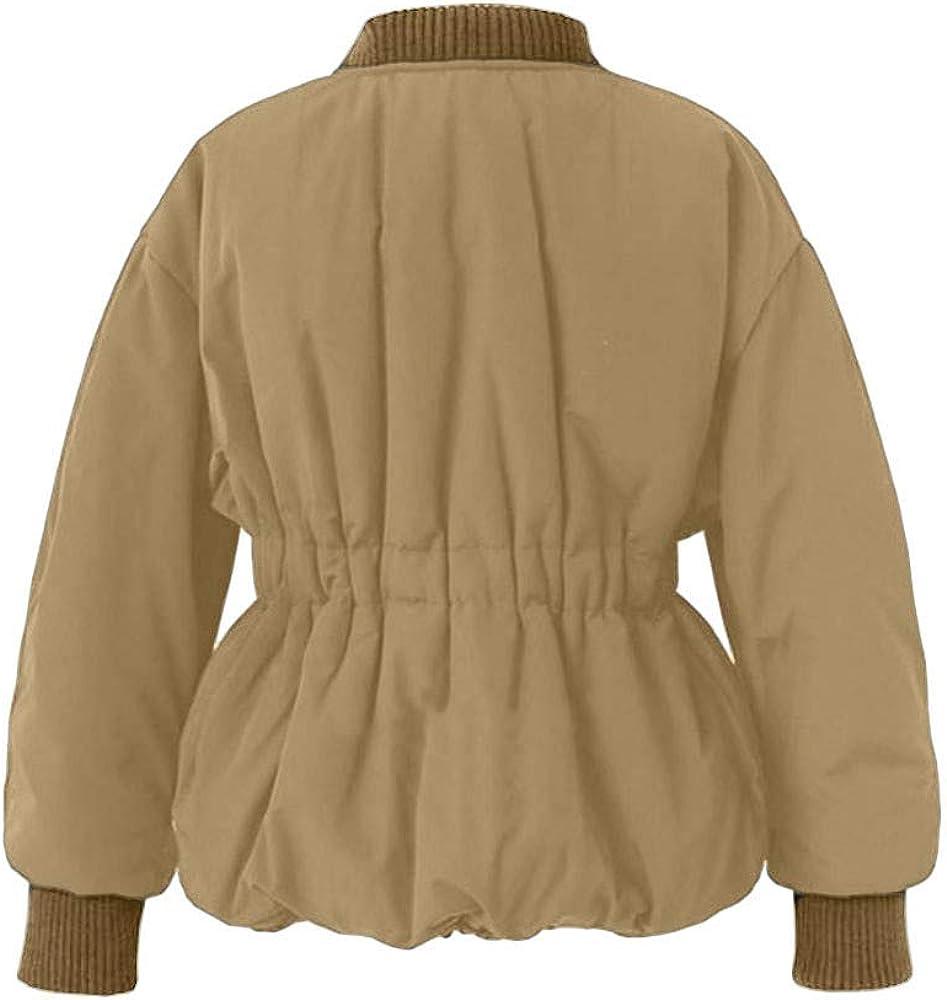 PXiong Women Tunic Outerwear Baseball Quilted Uniform Jacket Pocket Zipper Coat